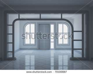 Empty Modern Entrance Hall With Decorative Partition Stock Photo