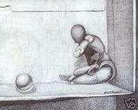 Original Drawing  Artist Block by Robert Fagg