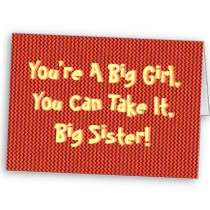 Youre a Big Girl Sister, 50, colorful zig zag Card by MyZazzleCards