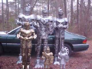 TWO   7 Foot SILVER Suit of Armor Medieval Knights