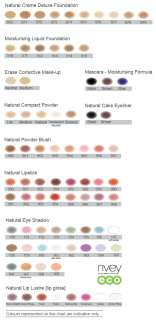 Nvey Eco Makeup Colour Chart   Find Your Shade