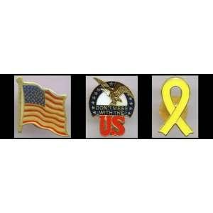 Lapel Pin Set Army Navy Air Force Marine American Flag Set of 3 pins