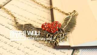 Vintage Bronze Flower Angel Wing Crystal Heart Valentines Necklace