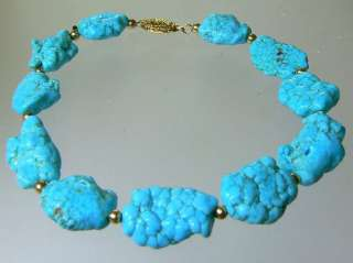 ARIZONA SLEEPING BEAUTY TURQUOISE NUGGETS 14K GOLD BRACELET 8
