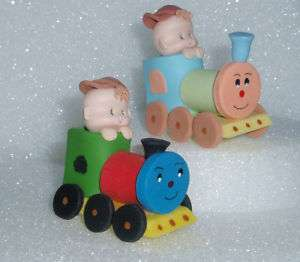 TRAIN BABY DIAPER CUPCAKES SHOWER TOPPER BIRTHDAY CAKE