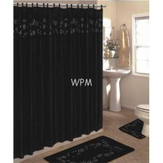 15 piece bath rug set black bathroom fabric shower curtain matching