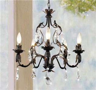 Gold Brushed Black Crystal 4 Light Ceiling Chandelier Pendant Lighting