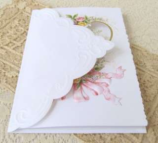 Carol Wilson Wedding Greeting Card Doves Roses Ribbons 095372063661