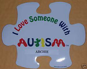 Love Someone with Autism Puzzle Piece Car Magnet NAME