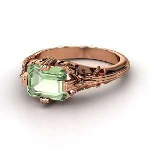 Acadia Ring, Emerald Cut Green Amethyst 14K Rose Gold Ring Jewelry