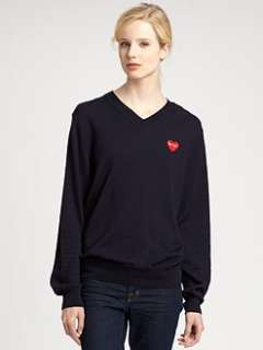 Comme des Garcons Play   Cotton Jersey Long Sleeve Tee