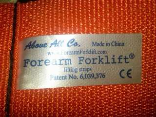 Forearm Forklift Lifting and Moving Straps Orange Lift *NICE*