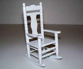 Dolls house miniature furniture white rocking chair