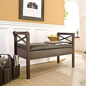 NEW Espresso Faux Leather Storage Bench Seat SEI BC9221