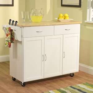 TMS Extra Large Kitchen Cart with Wood Top in White