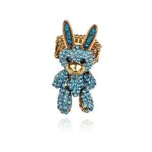 Aqua Marine Blue Crystal Rhinestone Velveteen Bunny Rabbit Doll Ring