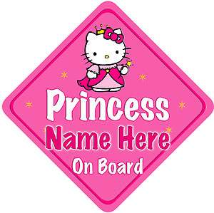 Hello Kitty Princess Child Baby on Board Car sign pink