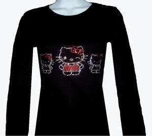 RHINESTONE(HELLO KITTY FAMILLY) LONG SLEEVE T SHIRT, SIZE S,M,L,XL