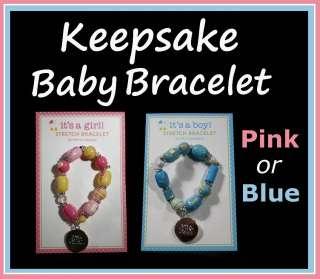 Baby Stretch Bracelet Pendant Its a Boy Girl Pink Blue
