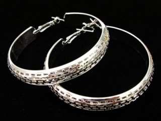 SILVER Dazzling Large Fashion HOOP EARRINGS