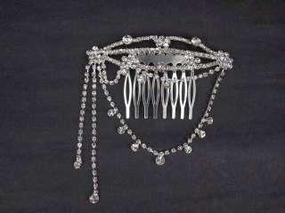 Bridal Rhinestone Crystal dangle Flower headpiece Hair tiara Comb