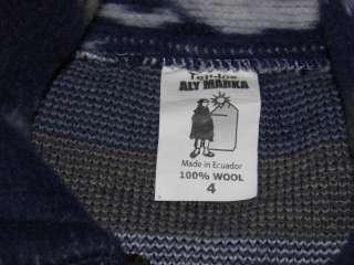 Youth SZ 4 Tejidos Aly Marka Jacket 100% Wool Blue White Gray Lamas