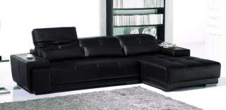 Modern black leather sofa sectional & chaise with trays