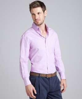 Brunello Cucinelli violet cotton button down shirt