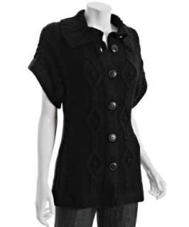 Design History black wool cable short sleeve cardigan   up to
