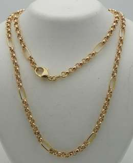 LINK 18 INCH LONG NECKLACE SOLID 14K GOLD, 6.3g