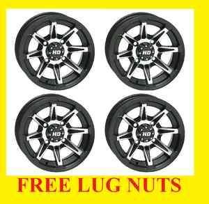 12 WHEEL KIT POLARIS SPORTSMAN RANGER RZR Wheels FREE LUG NUTS