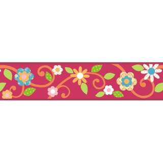 Mates Studio Designs Scroll Floral Wall Border in Magenta / Orange