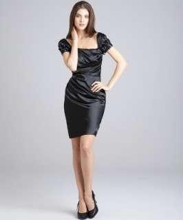 Badgley Mischka Platinum Label black sateen applique sleeve dress