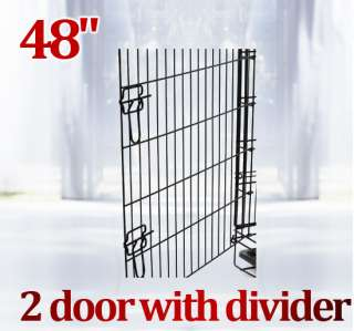 48 2 Doors Large Folding Dog Pet Crate Cage Kennel with Divider High