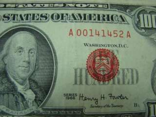 1966 One Hundred Dollar Bill,Red Seal United States Note $100