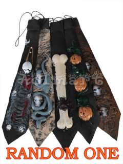 Hot Scary Skull Necktie tie Fancy Halloween Party Prop Dress Costume