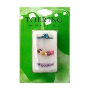 Cubic Zirconia, Plastic Bead, Flower, Blue and Purple Toe Rings