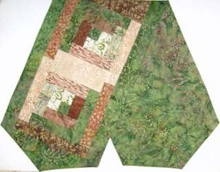 Batik Patchwork PRE CUT Patchwork QUILT Table Runner 13x45 Inch FOREST