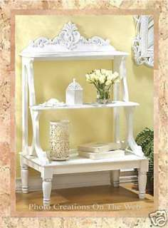 WHITE WOOD BOOK SHELF,PLANT,STAND,TABLE,HOME,BATH,DECOR