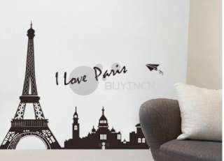 Paris Eiffel Tower Art Home Wall Sticker Mural Vinyl Decal decor