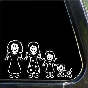 daughters, dog Family Stick People Car Decals Stickers