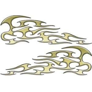 Tribal Motorcycle Graphics : Reflective Gold Tribal Motorcycle Gas Tank Flame Decals Automotive