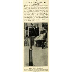 1915 Print Ocean Park California Antique Public Telephone Booth